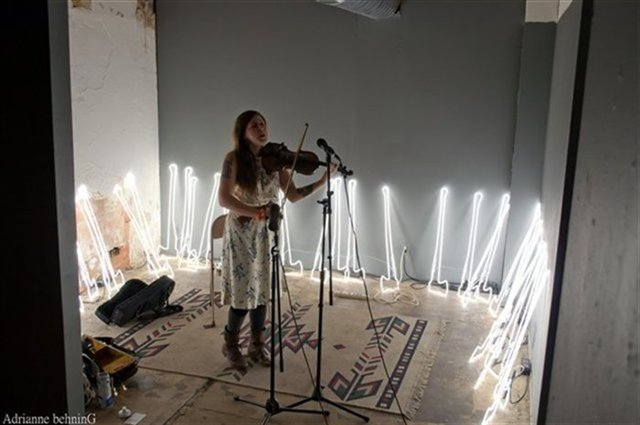 Skye Carrasco performs alongside installations in the gallery space.