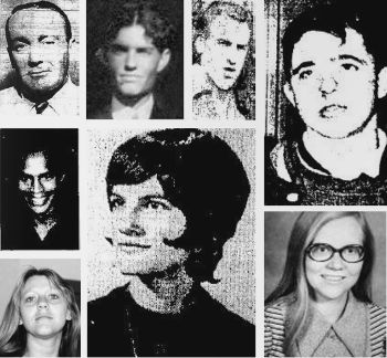 Clockwise from bottom left: Susan Kersten, James Hall, Edward Kriz, Edward Leeney, Ronald Lipsius, Joseph Scneifer, Jane Wakefield, Sarah Ann Ottens -- Images courtesy of Iowacoldcases.org