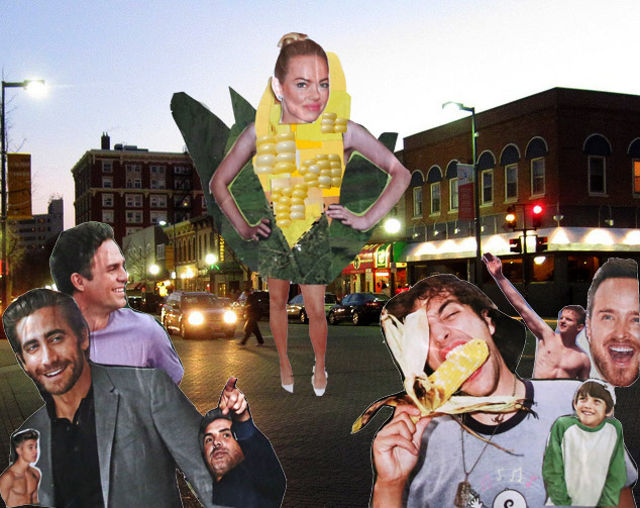 Stop traffic in a sexy sweet-corn disguise -- collage by Rachel Jessen