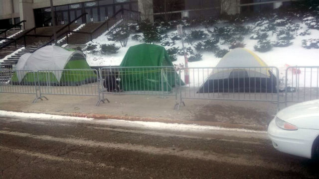 Iowa State fans camp outside Hilton Coliseum on Thursday, December 12.