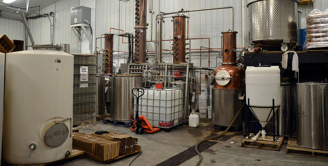 Currently, Cedar Ridge has two 80 gallon pot stills on-hand for spirits production. -- photo by John Johnson