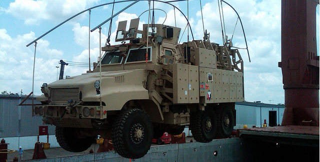 Johnson Country police recently acquired its own armor-plated vehicle, similar to the one shown above, through a government surplus program.  -- photo via U.S. Army Materiel Command