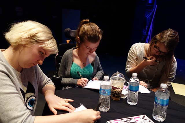 Lena Dunham met with students from Tate High School involved with the Iowa Writing Project -- photo by Mallory Hellman