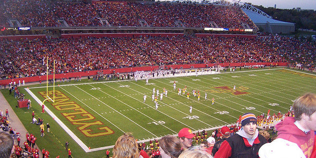 This photo from within Jack Trice Stadium indicates that some people do, in fact, enjoy watching the Cyclones. -- photo by Eric Olson