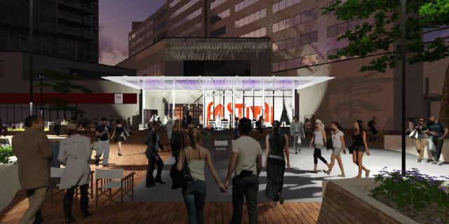 Ped Mall permanent stage canopy -- image courtesy of the City of Iowa City