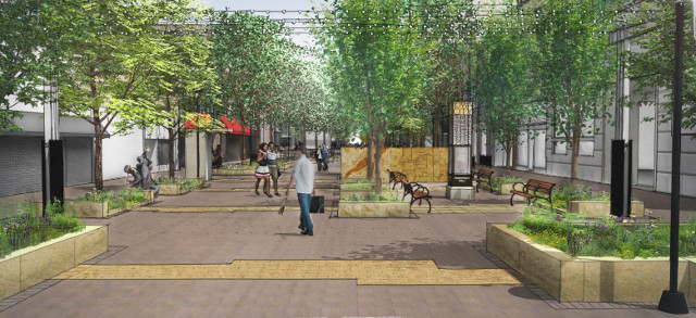 Pedestrian Mall West entrance -- image courtesy of the City of Iowa City