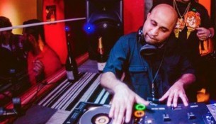 Dj Raj spinning at a recent performance in Des Moines -- Photo courtesy of Dj Raj