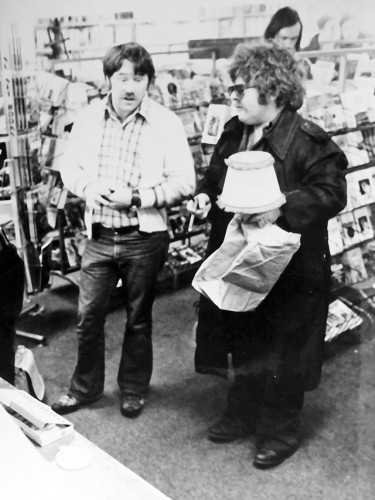 Glen and Harry Epstein inside their urban renewal module bookstore, 1974  — submitted photo