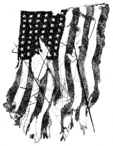 This tattered American flag design will be available for purchase. - photo courtesy of Simeon Talley