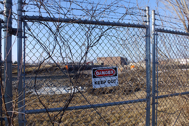 Demolition has begun at outside water treatment tanks  -- photo by Adam Burke