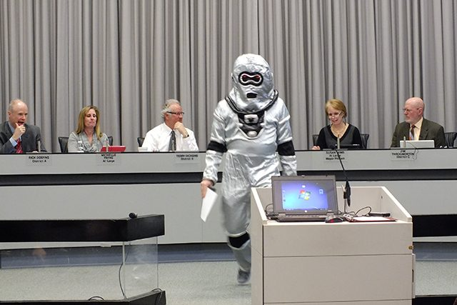 Roboprofessor at Iowa City Council meeting on March 23, 2015 -- photo by Adam Burke