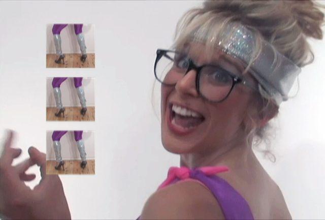 """Jessica Pleyel's aerobics video will be part of BYOBeamers on March 5. """"Workin it"""" 2011"""