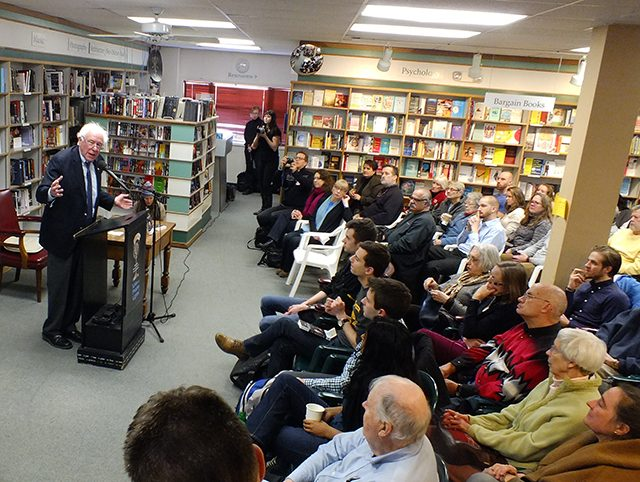 Senator Bernie Sanders speaking at Prairie Lights Bookstore on Feb. 19. -- photo by Adam Burke