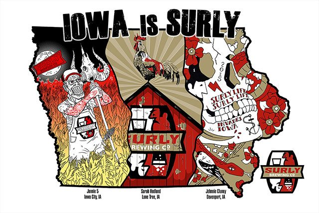 Jonnie 5 Apparel, Sarah Hedlund and Johnnie Cluney all collaborated on the artwork for Surly Brewing's new poster. -- image courtesy of Surly Brewing