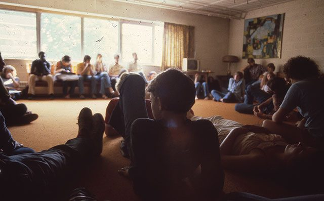 Community meeting in 1979. --  image courtesy of Scattergood Friends School and Farm