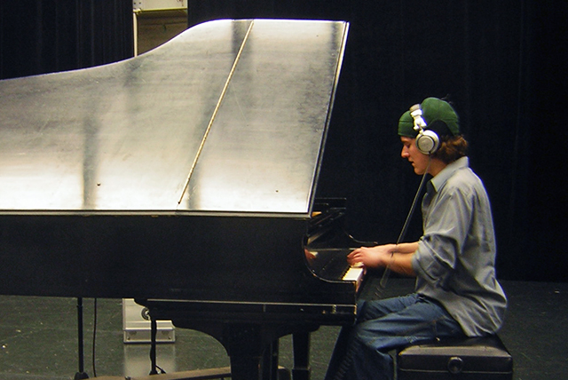 Brian recording a piano part in 2007