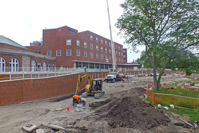 The IMU plaza along the Iowa River is expected to be finished in July  -- photo by Adam Burke