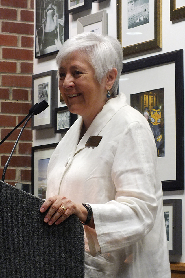 University of Iowa President Sally Mason celebrates the end of a long cleanup project at the IMU. Mason, appointed to her office in 2007, recently announced her retirement and said her last day will be July 31, 2015 -- photo by Adam Burke