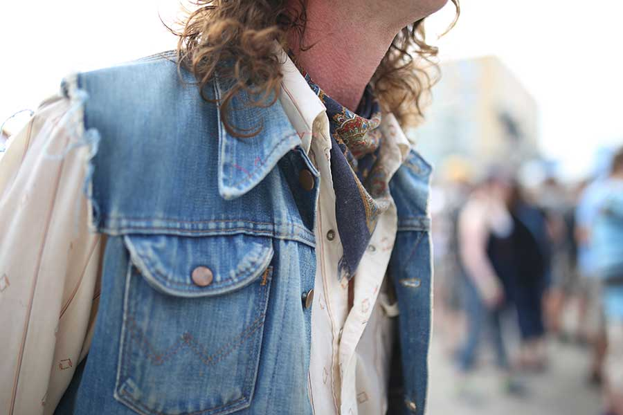 George of Lawrence Kansas in a Wrangler denim vest and western shirt, all thrifted. -- photo by Stephanie Knutson