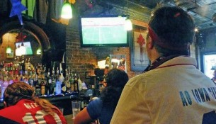 Watching  the USA trounce Nigeria at Donnelly's -- photo by Adam Burke