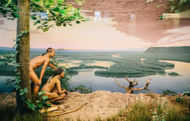 This river bluff view diorama depicts Native Americans. -- photo by Britt Fowler