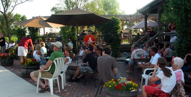 Millstream Brewing Company's hop-covered biergarten. — photo via Millstream Brewing Company