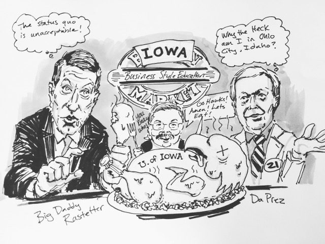 """University of Iowa, where 3% is a passing grade!"" -- illustration by Tim Taranto"