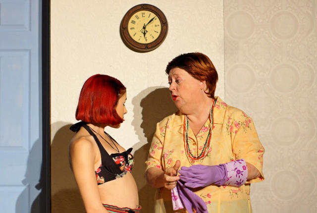 Isabel Cody as Chicklet, Beverly E. Mead as Mrs. Forrest -- photo by Emily McKnight
