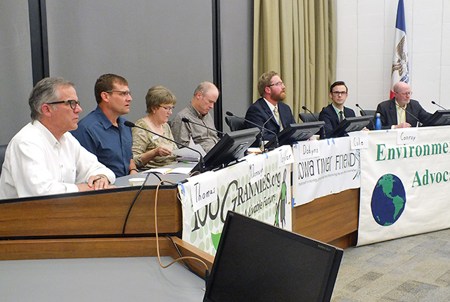 City council candidates discussed environmental issues at Emma Harvat Hall last night. -- photo by Adam Burke