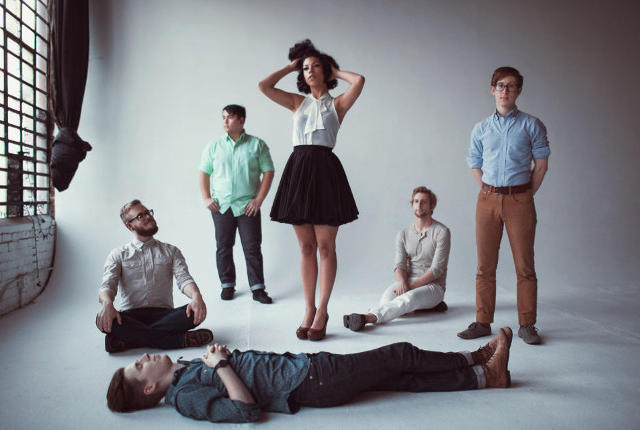 PHOX is Monica Martin, Zach Johnston, Matthew Holmen, Jason Krunnfusz, Davey Roberts and Matteo Roberts -- photo via The Englert
