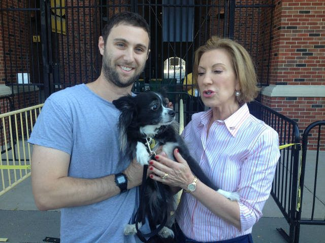 Clarabelle meets presidential candidate Carly Fiorina. -- photo courtesy of Hannah Cross and Max Rubin