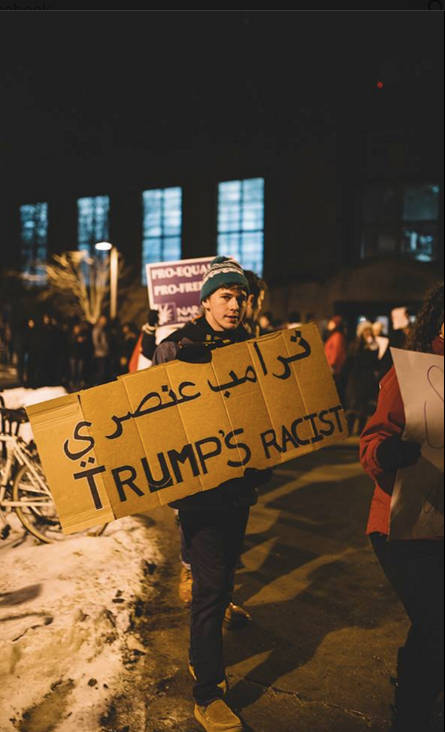 Protesters convened outside the Donald Trump rally at the Field House. -- photo by Britt Fowler
