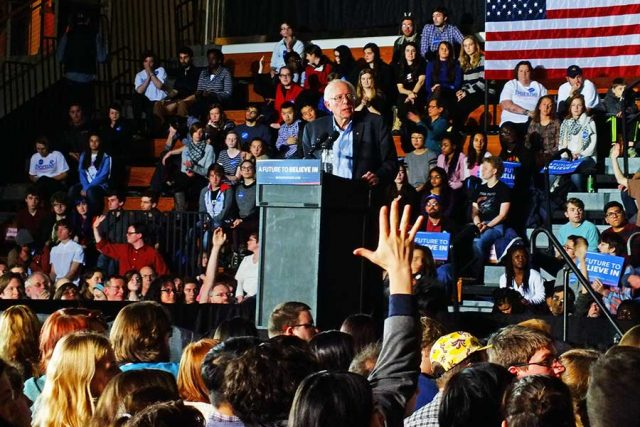 Vermont Senator Bernie Sanders spoke for about 45 minutes then took questions from an audience in Grinnell yesterday -- photo by Adam Burke