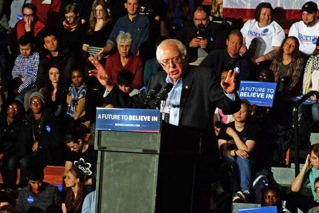 In his more than 50 days campaigning in Iowa from 2013-16 (second to Martin O'Malley's sixty-plus), Sanders has seen his stock rise in Iowa, where he is in a statistical dead heat with Hillary Clinton, and in New Hampshire where polls show him with a double-digit lead. New Hampshire will hold its primary on Feb. 9 -- photo by Adam Burke