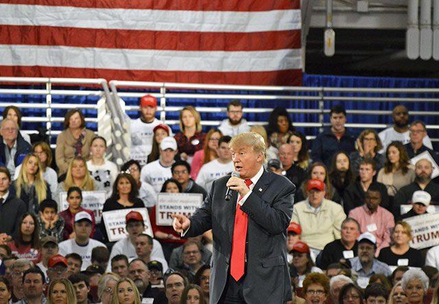 Donald Trump campaigning in Des Moines — photo by Alex Hanson