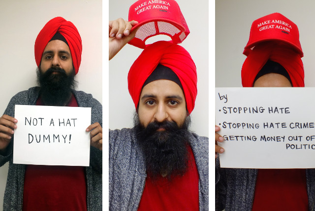 In three photos, Iowan Sikh protester destroys Donal Trump -- photos by Adam Burke