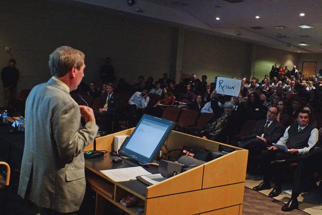 Bruce Harreld speaks at the UI Town Hall meeting on Feb. 23 -- photo by Adam Burke