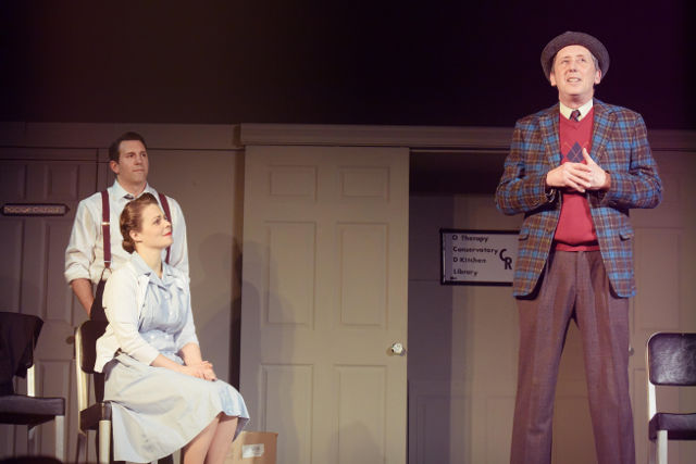 Left to right: Richie Akers as Dr. Sanderson, Jessica Link as Kelly, David Morton as Elwood