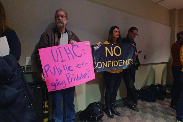 Protestors at the UI Town Hall meeting on Feb. 23 -- photo by Adam Burke