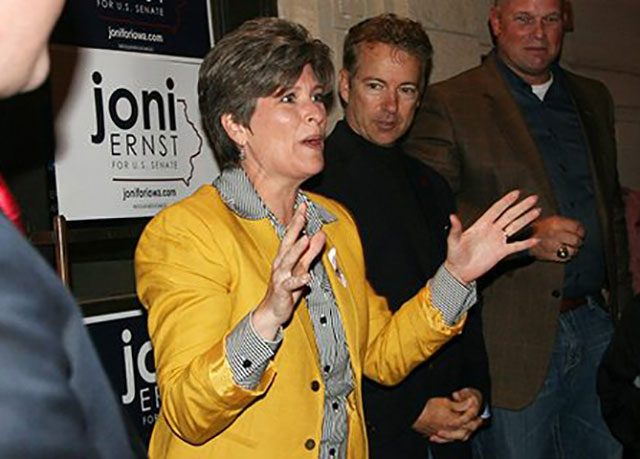 Joni Ernst and Rand Paul -- photo by Adam Burke