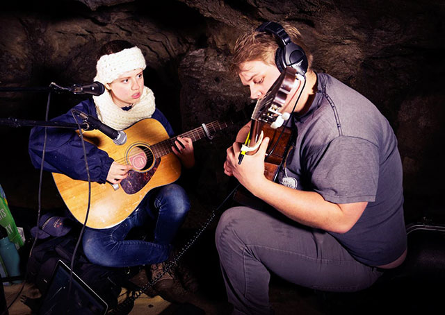 Nora Petran and Curt Oren recording in Maquoketa Caves State Park -- photo by Chelsea Darter