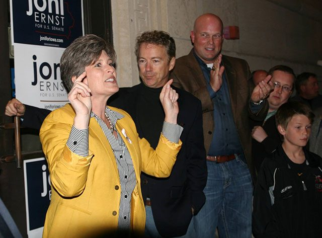 Joni Ernst campaigning with Sen. Rand Paul in Iowa City -- photo by Adam Burke