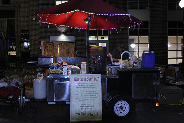 Owner Greg Millsap stands behind new Bahn Mi Amor food cart. -- photo by Frank Weirich
