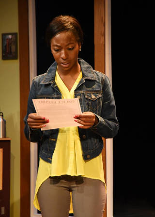 Tierra Plowden as Lori in 'Black and Blue' -- photo courtesy of Riverside Theatre