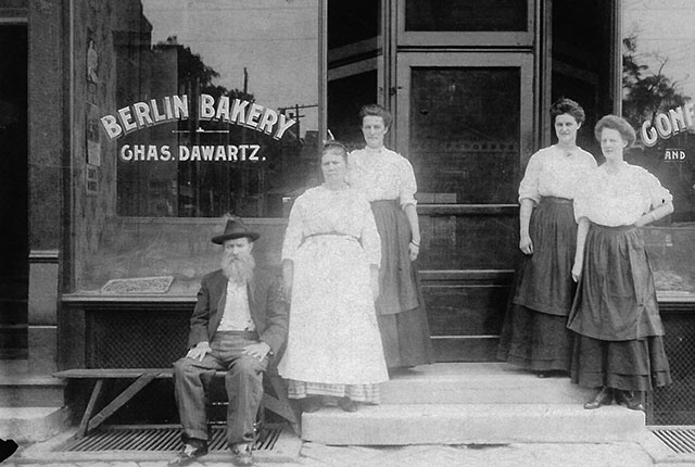 In front of the Berlin Bakery, Berlin, Iowa. Photo courtesy of Johnson County Historical Society