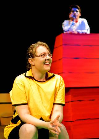 Rachael Rhoads as Charlie Brown, Yannik Encarnação as Snoopy -- photo by Emily McKnight
