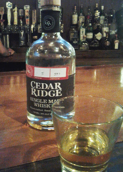 Cedar Ridge Single Barrel shown at Iowa Chop House in Iowa City. -- photo by Eleanore Taft