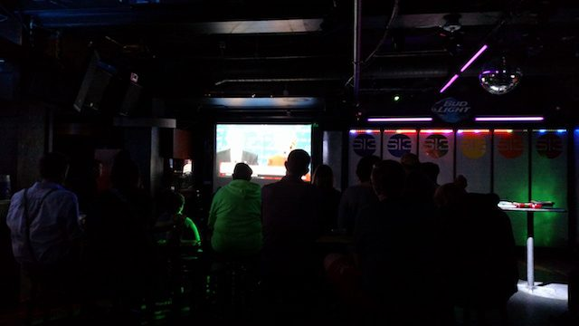 People gathered at Studio 13 in Iowa City to watch the first presidential debate between Hillary Clinton and Donald Trump on Sept. 26, 2016. -- photo by Lauren Shotwell