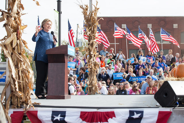Democratic presidential candidate Hillary Clinton encouraged people to get out and vote during a rally in Cedar Rapids Friday, Oct. 28, 2016. -- photo by Danforth Johnson