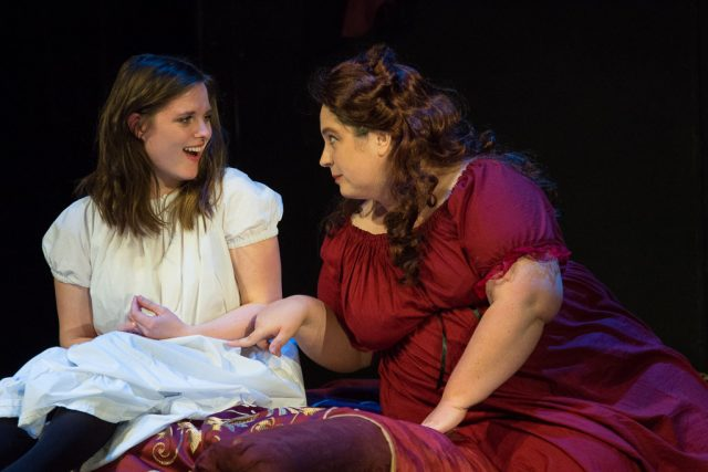 Melissa Kaska as Mina, Jen Brown as Lucy in a rehearsal shot from ICCT's 'Dracula' -- photo by Zak Neumann